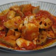 鶏とレンコンのガーリックトマト煮