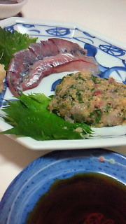 夕食(アジ、いろいろ野菜のきんぴら)