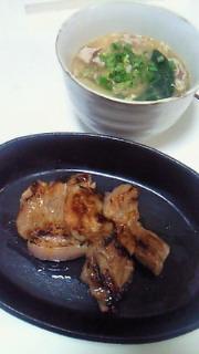 夕飯(豚の味噌漬けと酸辣湯)