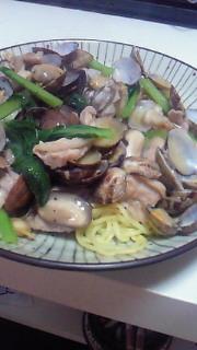 夕飯(浅利あんかけ焼きそば)